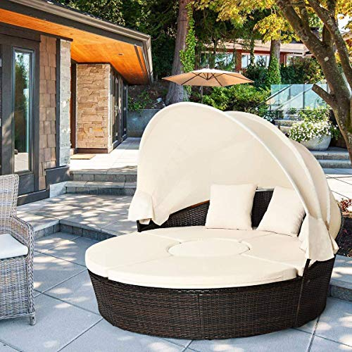 HAPPYGRILL Patio Furniture Set Round Daybed with Retractable Canopy & Coffee Table Outdoor Wicker Rattan Sectional Seating with Cushions Conversation Sets with Retractable Canopy