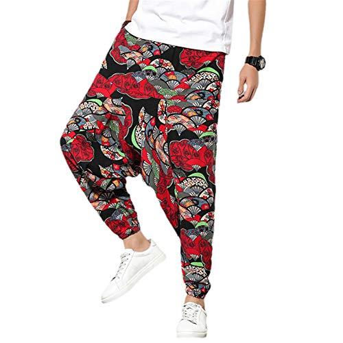 Hombres Estilo Tradicional Dragón De Verano Impreso Casual Harem Pantalones Estilo Coreano Suelto Hip Hop Streetwear Hombre Pantalones, rojo vino, 3X-Large