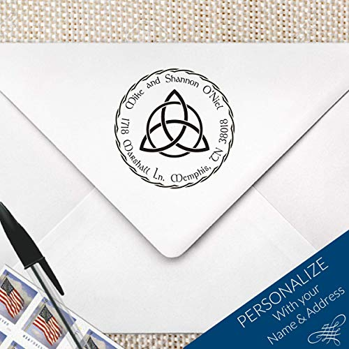 Personalized Custom Celtic Trinity Knot Monogram Return Address Stamp, MS-R5