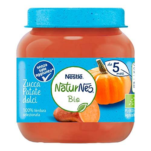 Nestlé Naturnes Omogeneizzato di Verdure Zucca e Patate Dolci da 5 Mesi, 12 Vasetti da 125 g