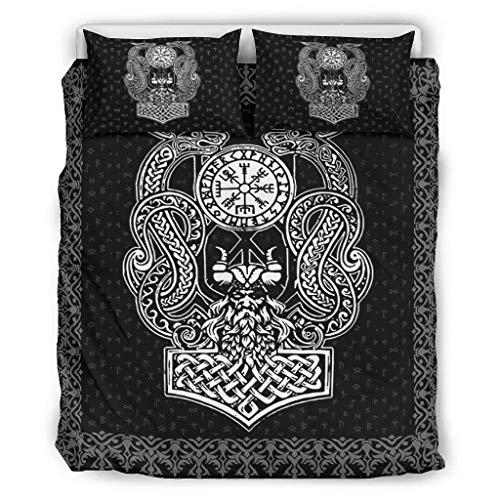 DAMKELLY Store Couvre-lit Viking Odin Dragon doux et imprimé – Parure de lit 3 pièces 1 housse de couette et 2 taies d'oreiller Lavable en machine Blanc 168 x 229 cm