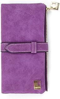 GUMAOPAJIAAAqb Monederos de Mujer, Long two-fold women wallet drawstring nubuck leather suede wallet ladies clutch (Color...