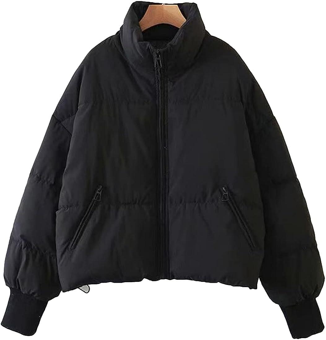 SeekMe Women's Oversized Cropped Puffer Jacket Long Sleeve Full Zip Lightweight Short Quilted Down Coat