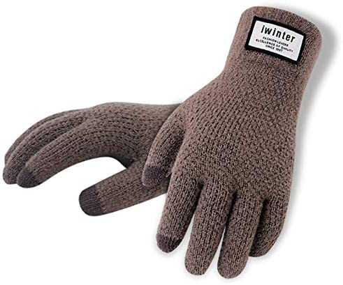 Winter Men Cashmere Knitted Gloves Thick Warm Patchwork Screen Glove Mittens Autumn Male Fitness Touch Workout Glove Mitaine A1 - (Color: Coffee)