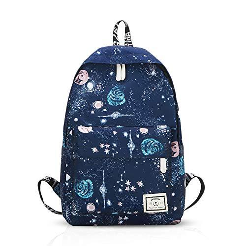 FANDARE Mochila Cielo Estrellado Bolsa de Escuela Hombres/Mujeres School Bag Adolescente Mochila Niña/Niño Viaje Mochilas Camping Daypack Poliéster Azul