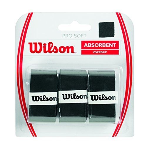 Wilson Pro Soft Overgrip Empuñadura, 3 unidades, unisex, negro