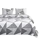 Wake In Cloud - Geometric Quilt Set, Triangle Modern Pattern Printed in Black White and Gray Grey, 100% Cotton Fabric with Soft Microfiber Inner Fill Bedspread Coverlet Bedding (3pcs, King Size)