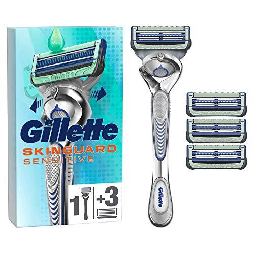 Gillette SkinGuard Sensitive Nassrasierer Herren, Rasierer + 4 Rasierklingen mit Flexgriff und Hautschutz