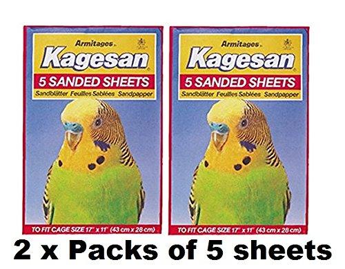 Kagesan Juego de 10 hojas de papel de lija para jaula de pájaros, color rojo, 2 x 5 unidades