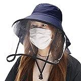 Comhats Multifunktionaler Gesichtsschutz Faltbarer Sonnenhut Abnehmbarer Schild Damen Schwarzblau