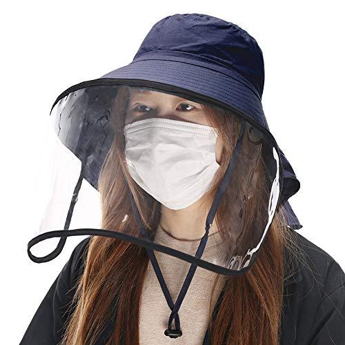 Comhats Multifunktionaler Gesichtsschutz Faltbarer Sonnenhut Abnehmbarer Schirm Damen Schwarzblau
