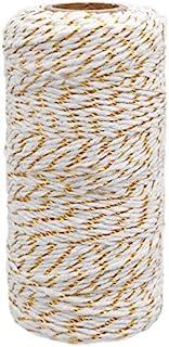 G2PLUS Weiß Baumwollschnur mit Goldschnur, 100M Bäcker Bindfäden Naturliches Baumwollgarn, 2MM Bastelschnur Baumwollkordel Schnur Perfekt für DIY Kunstgewerbe Gartenarbeit , weiß