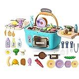 Tastak Kids Play Kitchen Picnic Playset, Cesta de Cocina Multifuncional de Juguete, con Sonidos de Luces realistas, Comida Que Cambia de Color, Regalos de Horno portátil para niñas y niños