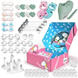 Baby Proofing Kit - 12 Magnetic Cabinet Locks, 24 Outlet Plug Covers, 10 Cabinet Locks, 8 Corner Protectors, 2 Door Lever Locks, Finger Pinch Guards, etc - All-in-ONE Baby Safety Products