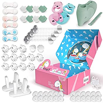 Baby Proofing Kit - 61 Pack 12 Magnetic Cabinet Locks 24 Outlet Plug Covers 10 Cabinet Locks 8 Corner Protectors 2 Door Lever Locks Finger Pinch Guards etc - All-in-ONE Baby Safety Products