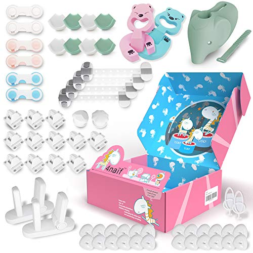 Baby Proofing Kit - 61 Pack, 12 Magnetic Cabinet Locks, 24 Outlet Plug Covers, 10 Cabinet Locks, 8 Corner Protectors, 2 Door Lever Locks, Finger Pinch Guards, etc - All-in-ONE Baby Safety Products