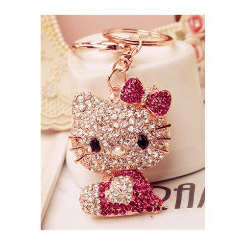 d7abbdc71 Swarovski Elements Rhinestone Crystals Keychain Creative Gift Hello Kitty  Dangle Charm Car Gift Accessory Handbag Purse
