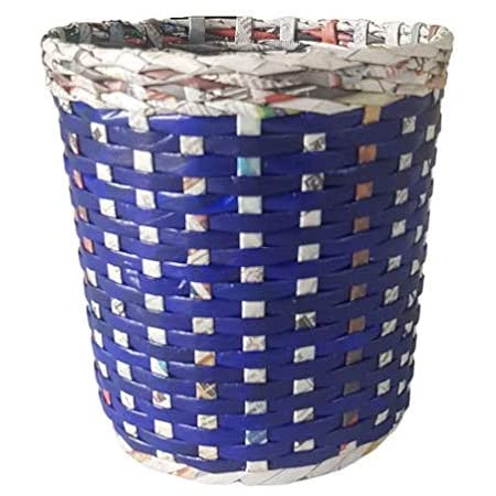 Sonas Creation Paperus SMALL Size 8 Inch TALL & 5 Ltrs Customizable Natural Dustbin Waste Basket Dust Bin Indoor Planter Vase Paper Bin Eco Friendly Sustainable Handmade of Paper Ropes (Blue Check)