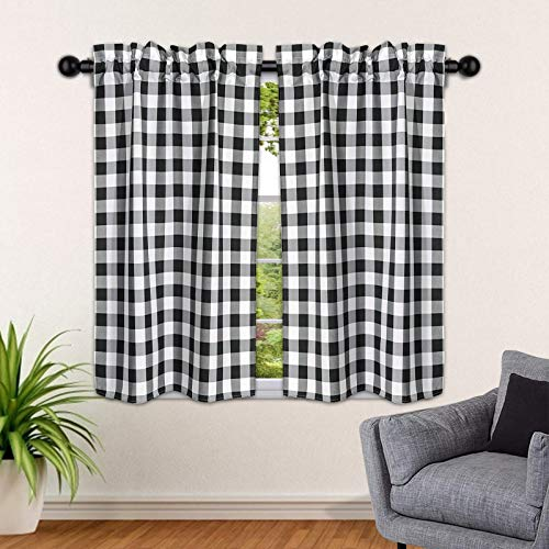 """SEEYE Kitchen Window Tiers Buffalo Plaid Curtains Farmhouse Light Filtering Rod Pocket Small Window Valances Thermal Insulated for Home Bedroom Cafe Decor, 27"""" W x 36"""" H-2 Pcs, Black"""
