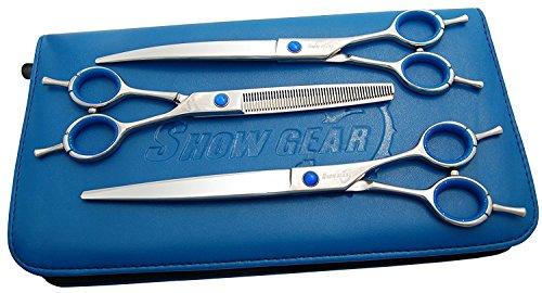 """Show Gear Grooming - Supreme Series Set 8"""" - Straight, Curved, and Thinner +Case"""