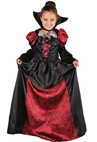 Lady Vampira Costume Vampira Bambina Halloween inclusivo di Vestito da Vampira con Colletto - Costume Ragazza Halloween (7-9 Anni)