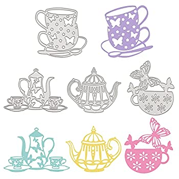 GLOBLELAND 4Pcs Metal Teapot Tea Cup Cutting Dies Tea Cup with Butterfly Stencil Template for Tea Party Invitations Scrapbook Embossing Paper Card Craft