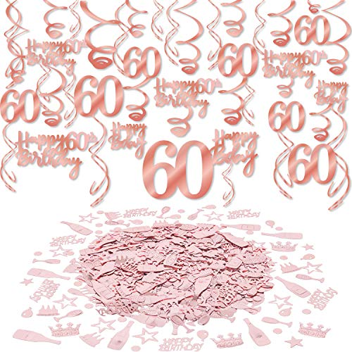 Konsait Rose Gold 60th Birthday Decorations for Women and Girl Bday Decor 60th Birthday Hanging Swirls (30pcs) 60 Happy Birthday Confetti (30g) for Home Table Decor Birthday Party Favor Supplies