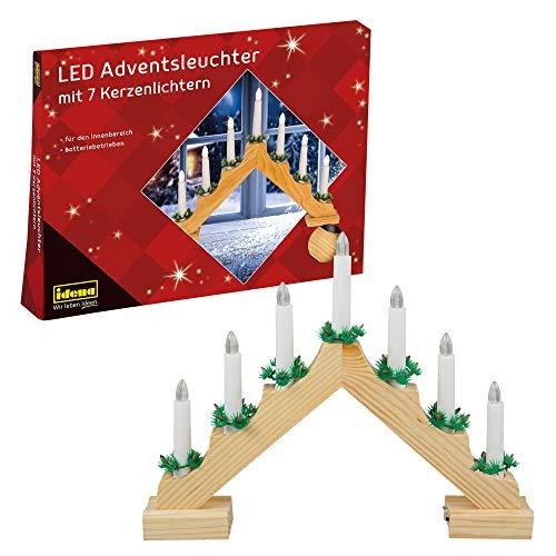 Idena 8582092 - Adventsleuchter aus naturfarbenem Holz mit 7 LED Kerzenlichtern, batteriebetrieben, ca. 40 x 30 cm