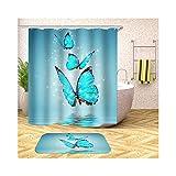 MaxAst Badematte Set 2 Teilig Bunt DREI Schmetterlinge Duschvorhang Wasserdicht Und Anti-Schimmel Badezimmerteppich Polyester Duschvorhang Badewanne 150x200CM