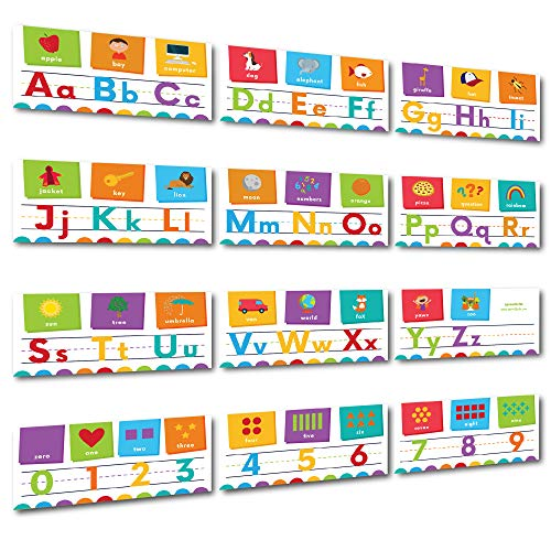 Sproutbrite Alphabet Wall Classroom Decorations and Bulletin Board Border Including Numbers 0-9 (White 2)