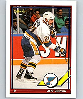 1991-92 O-Pee-Chee Hockey #222 Jeff Brown St. Louis Blues Official NHL Trading Card Produced By Topps