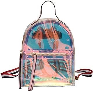 Women Glitter Holographic Backpack Transparet Rainbow Crossbody Shoulder Bag Daypack, Pink (Transparent) (Pink (Transparent)) - CCbb-18350532A