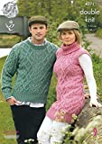 King Cole Ladies & Mens Double Knitting Pattern Cable Knit Sweater Polo Neck Tunic Merino DK (4371)