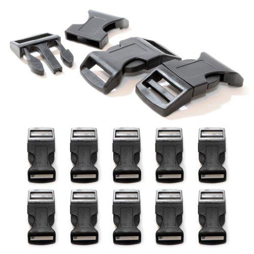 """Fermoir à clip en plastique, idéal pour les paracordes (bracelet, collier pour chien, etc), boucle, attache à clipser, grandeur: XL, 1"""", 65mm x 32mm, couleur: noir, de la marque Ganzoo - lot de 10 fermoirs"""