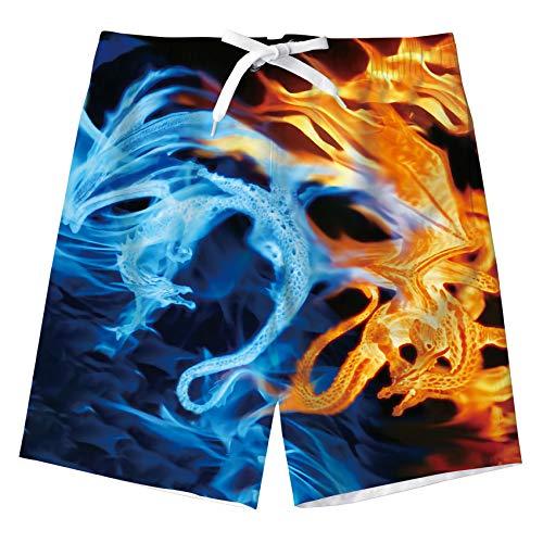 kids4ever Kinder 3D Wasser Feuer Dragon Grafik Badehosen Jungen Sommer Verstellbare Taille Badeshorts 11-12 Jahre Teenager Urlaub Strand Schwimmen Badebekleidung