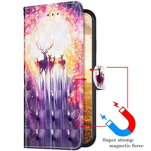Uposao Compatible con Funda iPhone 6 Plus/6S Plus Funda Piel PU Cuero Billetera Flip Estilo Libro Tapa,Purpurina Glitter Brillante 3D Dibujos Carcasa Plegable Soporte Función,Cierre Magnético,Alce