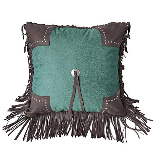 HiEnd Accents Cheyenne Faux Leather Scalloped Throw Pillow, 1'6' x 1'6', Turquoise
