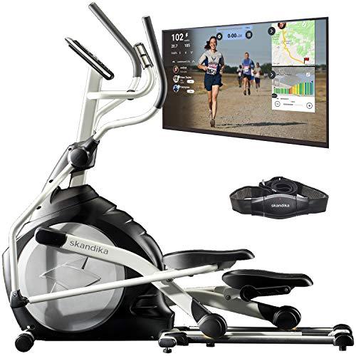 skandika Crosstrainer CardioCross Carbon Pro SF-3200, 23,5 kg Schwungmasse, wartungsarmes Bremssystem über Magnettechnologie, Transportrollen, Bluetooth-Computer mit Kinomap, Tablet-Halterung