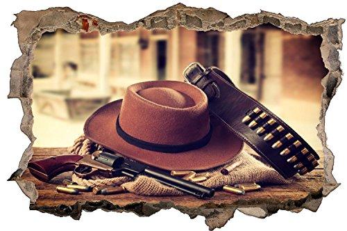 Cowboy Hut Revolver Wilder Westen Wandtattoo Wandsticker Wandaufkleber D1198 Größe 120 cm x 180 cm