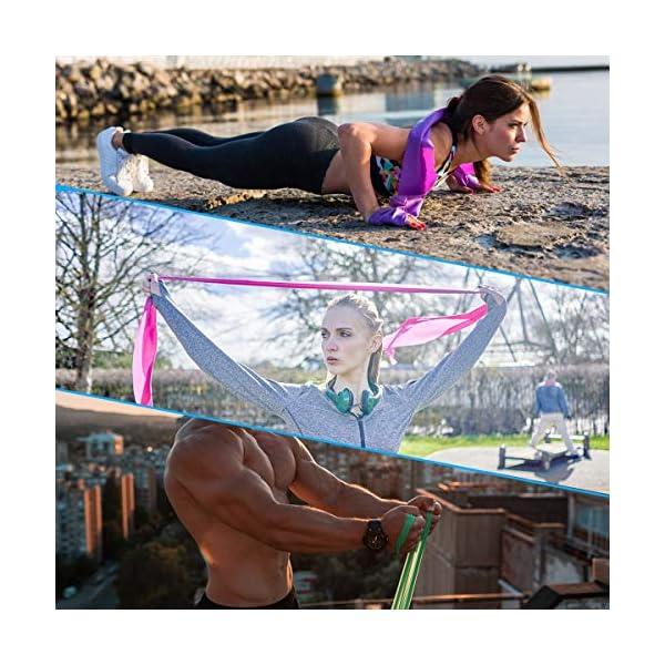 Fita Theraband 4 Stueck Latex Fitnessbaender Set Extra Lang Terrabaender Fitnessband Gymnastikband Elastic Band Fuer Yoga Pilates Crossfit Rehabilitation Verstaerkte Dicke Hohe Elastizitaet