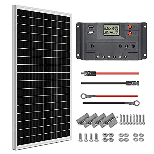 WEIZE 100 Watt 12 Volt Solar Panel Starter Kit With Monocrystalline PV