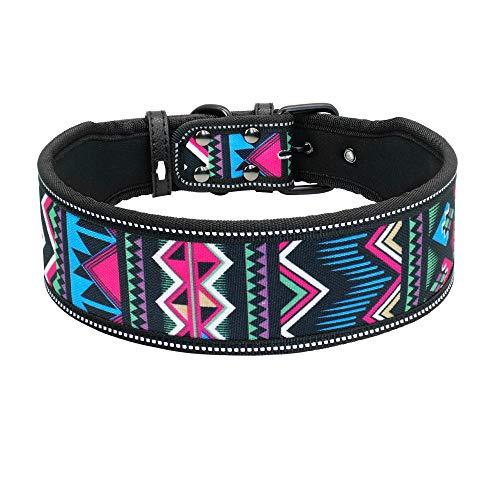 FDLFRY Reflectante Perro De Nylon del Collar, Collares para Mascotas Ajustable para La Mediana Grande Perros Pitbull Pastor Alemán,Xw,50~60CM