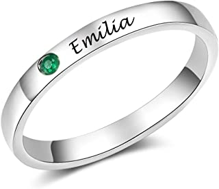 Personalized Promise Rings for Women with Simulated Birthstone Free Engraving Infinity Rings Promise Rings for Couples Val...