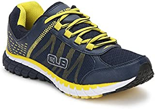 Columbus Men's Grey and Yellow Mesh Shoes (8, Multi-Coloured)