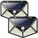 GoGoIT 2 Pack Outdoor Solar Lights,100 LED Waterproof Security Wall Night Lights with Motion Sensor 270° Wide Angle for Pathway Porch Yard Garage Garden Fence Walkway Driveway