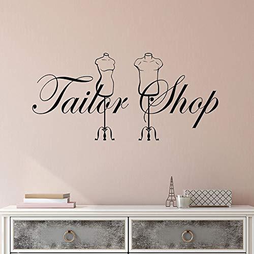 yuandp Couturière Wall Decal Tailor Shop Logo Vinyl raam zelfklevend Binnen Art Deco Mobile Creative Wand 57 x 120 cm