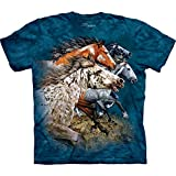 The Mountain Find 13 Horses-M Adult T-Shirt, Blue, Medium