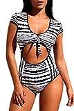 Cali Chic Women's Swimsuit Celebrity Retro Tie Knot Bow Cutout Cap Sleeve One Piece Swimwear Multicolor Medium