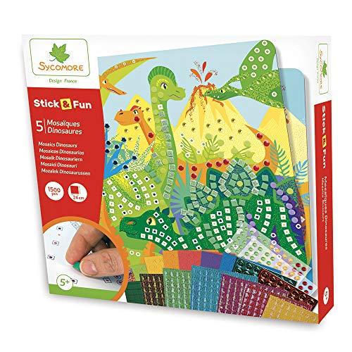 Sycomore CRE7007 Selbstklebende Mosaike für Kinder-5 Dinosaurierbilder-Kreative Freizeitgestaltung-Stick & Fun-Ab 5 Jahren-Sycomore-CRE7007, Mehrfarben
