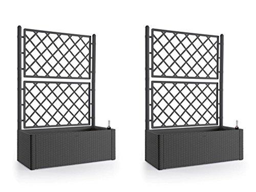 2 Stück XL Rankgitter, Spalier mit Pflanzkasten in moderner Rattan-Optik aus robustem Kunststoff in Anthrazit/Grau. Maße BxTxH in cm: 100 x 43 x 142 cm. Topp für Garten, Terrasse und Balkon!